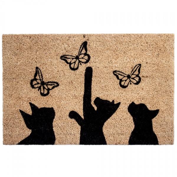 BO-MA Kokosová rohožka Mačky a motýle, 40 x 60 cm