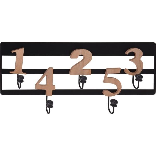 Nástenný vešiak 5 háčikov Numeros, čierna