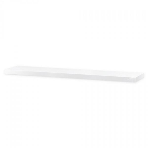 Nástenná polička lesklá 120 cm, biela, 120 cm