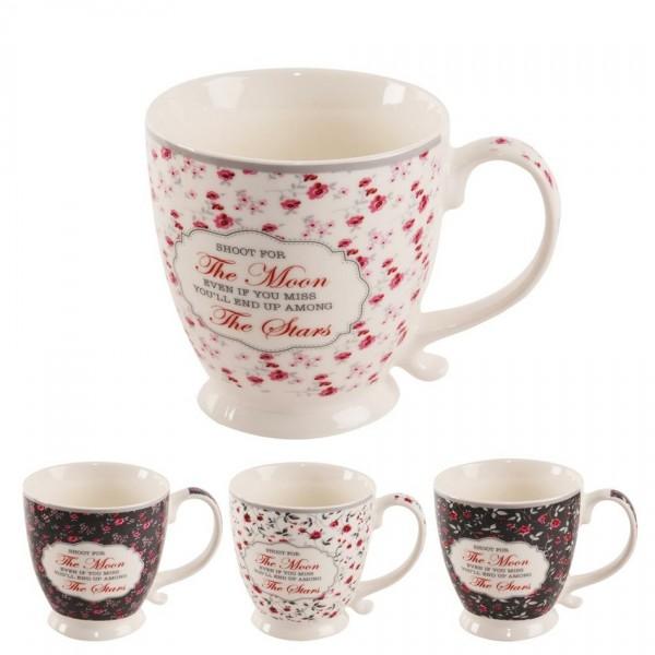 Orion Sada porcelánových hrnčekov Romantic, 450 ml, 4 ks