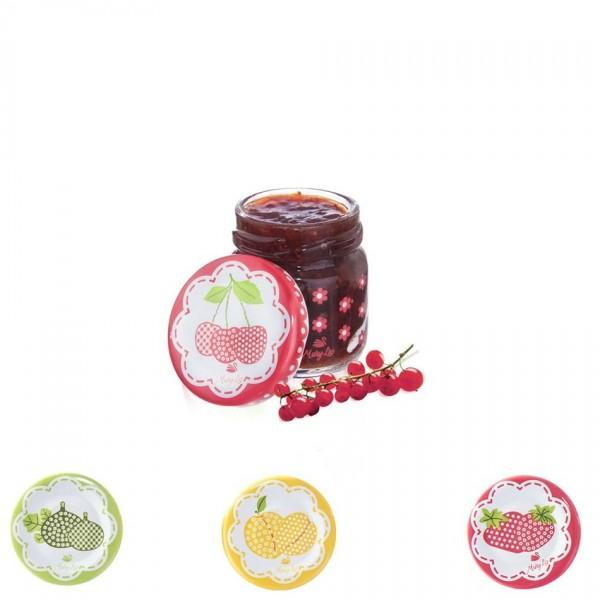 Orion 129709 Sada zaváracích pohárov s viečkom Sweet 40 ml, 8 ks, mix farieb