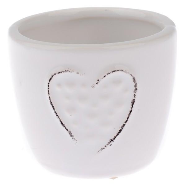 Keramický obal na kvetináč Little hearts biela, pr. 7 cm, pr. 7 sm