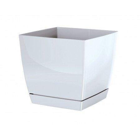 Prosperplast Kvetináč Coubi Square s miskou biela, 18 cm, 18 cm