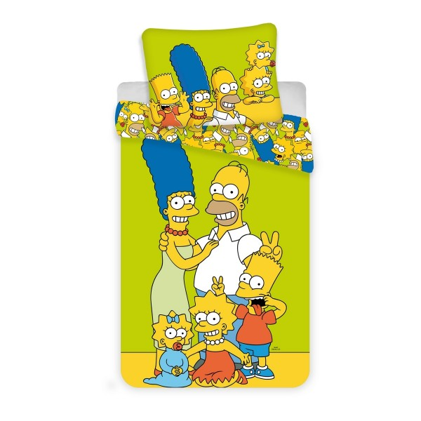 Jerry Fabrics Detské bavlnené obliečky Simpsons yellow green, 140 x 200 cm, 70 x 90 cm