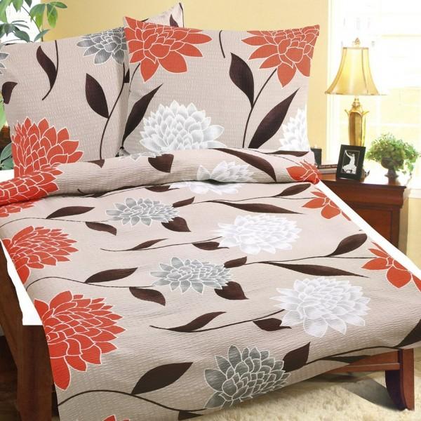 Bellatex Obliečky krep Oranžová jiřina, 140 x 200 cm, 70 x 90 cm