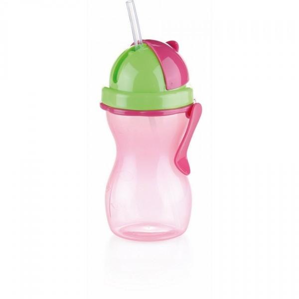TESCOMA detská fľaša so slamkou BAMBINI 300 ml, zelená, ružová ,