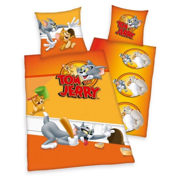 Herding Detské bavlnené obliečky Tom a Jerry, 135 x 200 cm, 80 x 80 cm
