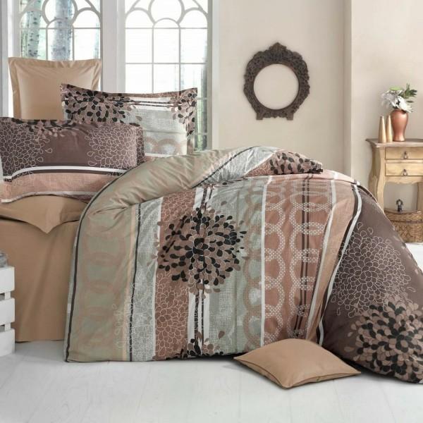 Kvalitex Bavlnené obliečky Delux Fantasy hnedá, 200 x 200 cm, 2 ks 70 x 90 cm