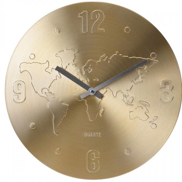 Nástenné hodiny World zlatá, 35 cm