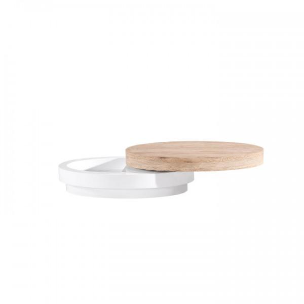Konferenčný stolík, biela vysoký lesk/dub sonoma, Jeman