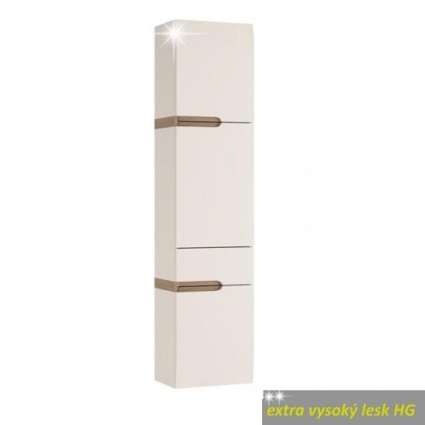 Policová skrinka, biela extra vysoký lesk HG/dub sonoma truflový, pravá, LYNATET TYP 155