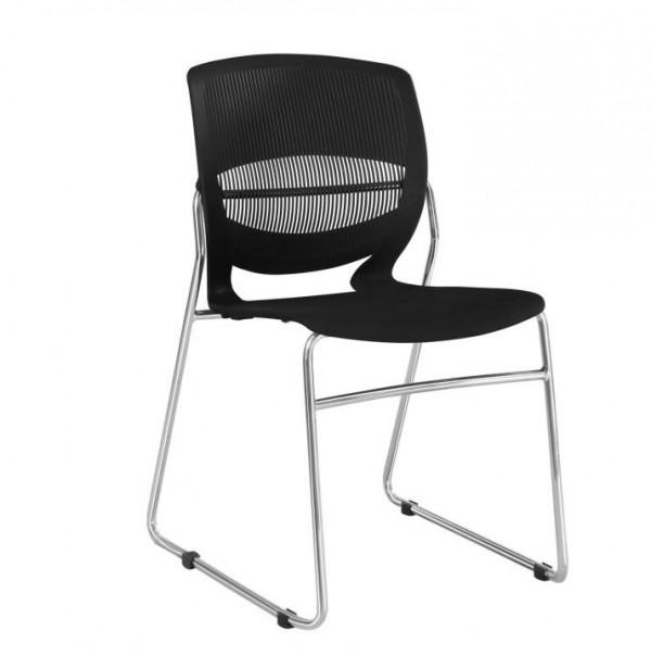 TEMPO KONDELA Kancelárska stolička, plast+kov, čierna, IMENA