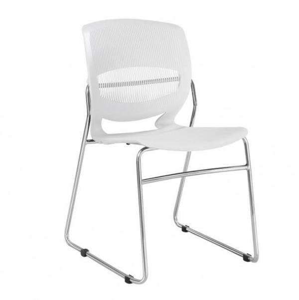 TEMPO KONDELA Kancelárska stolička, plast+kov, biela, IMENA