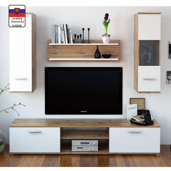 Obývacia stena, dub wotan/biela, WAW NEW
