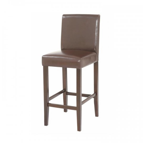 TEMPO KONDELA Barová stolička, tmavohnedá ekokoža/tmavý orech, MONA 2 NEW