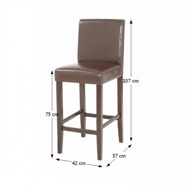Barová stolička, tmavohnedá ekokoža/tmavý orech, MONA 2 NEW
