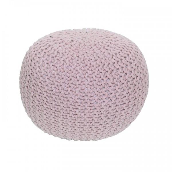 TEMPO KONDELA Pletený taburet, púdrová ružová bavlna, GOBI TYP 1