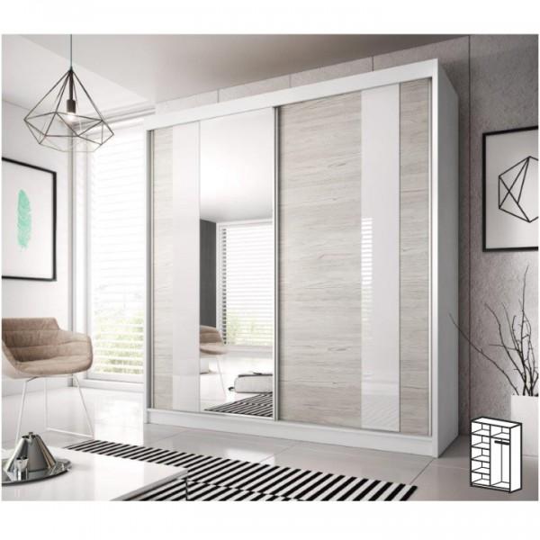 Skriňa s posúvacími dverami, dub kathult svetlý/biela, 183x218, MULTI 32