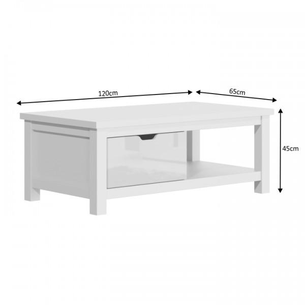Konferenčný stolík AR90, biely lesk/biela, ARTEK