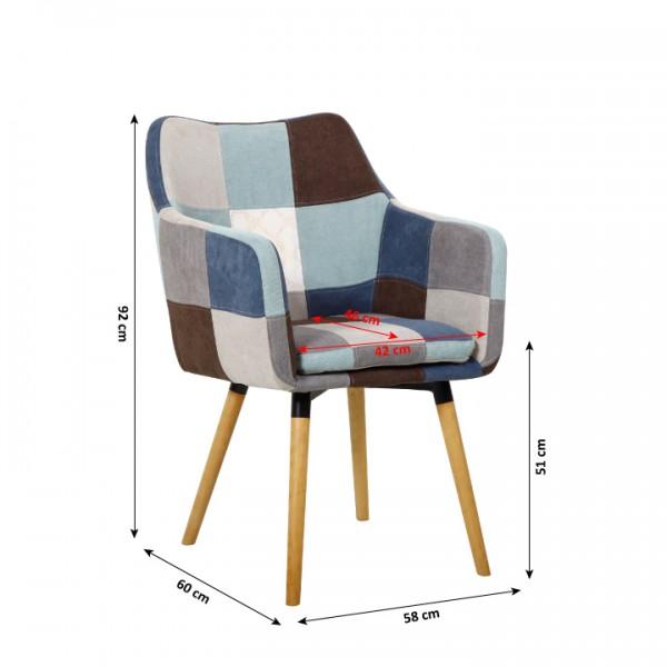 Kreslo, modrá/béžová vzor patchwork/buk, LANDOR