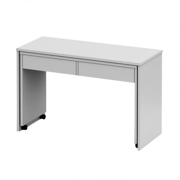 TEMPO KONDELA Rozkladací PC stôl so šuplíkmi, biela, VERSAL NEW