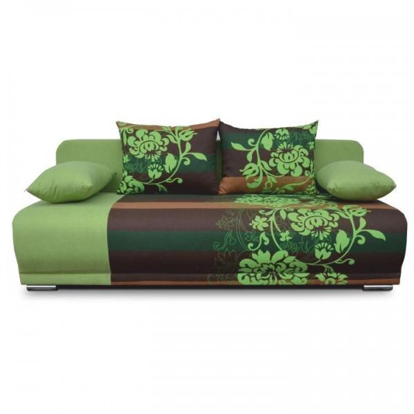 Pohovka rozkladacia, zelená/hnedá/vzor kvetov, REMI