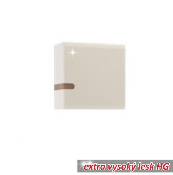 TEMPO KONDELA Visiaca skrinka, biela extra vysoký lesk HG/dub sonoma tmavý truflový, LYNATET TYP 65