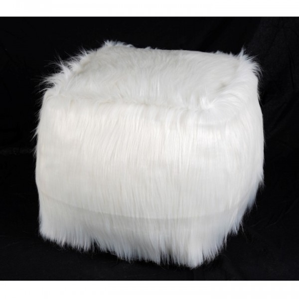 TEMPO KONDELA Taburet, umelá kožušina biela, AZENE