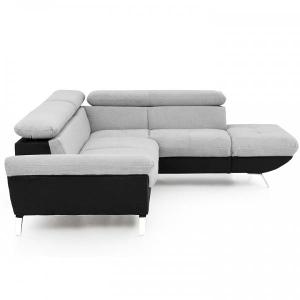 Rohová sedacia súprava, čierna/sivá, pravá, VENICE