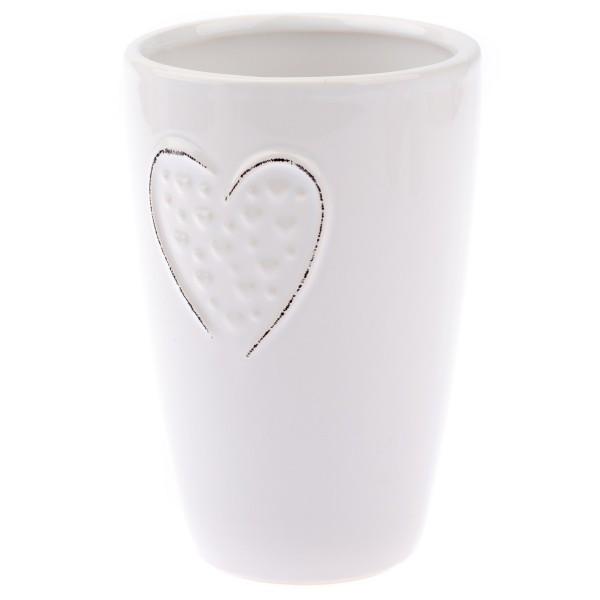 Keramická váza Little hearts biela, 14,5 cm