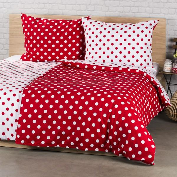 4Home bavlnené povlečení Červená bodka, 160 x 200 cm, 70 x 80 cm