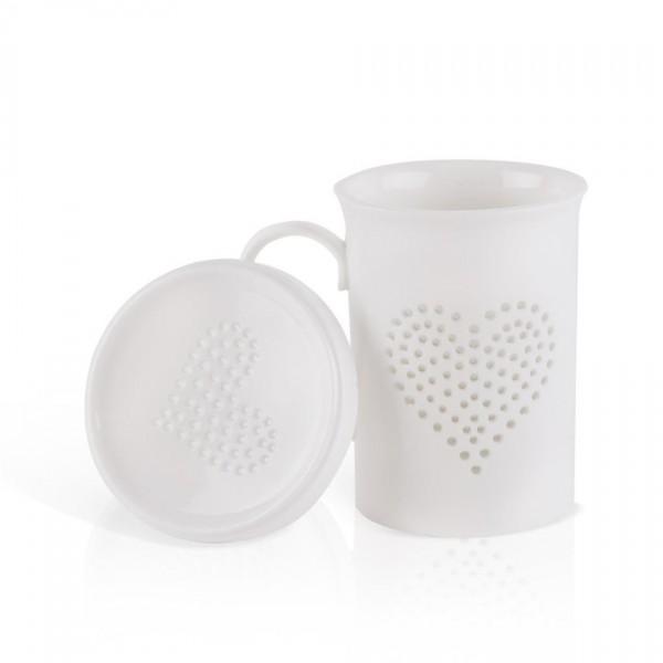Orion Porcelánový hrnček s pokrievkou Light, srdce, 420 ml