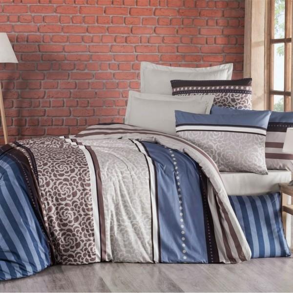 Kvalitex Bavlnené obliečky Delux Stripe modrá, 140 x 200 cm, 70 x 90 cm