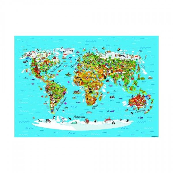 AG Art Detská fototapeta XXL Mapa sveta 360 x 270 cm, 4 diely