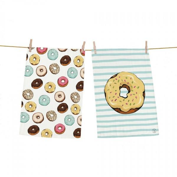 Butter Kings Kuchynská utierka Tasty donuts, 70 x 50 cm, sada 2 ks