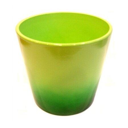 Keramický obal na kvetináč Ombré zelená, pr. 13,5 cm