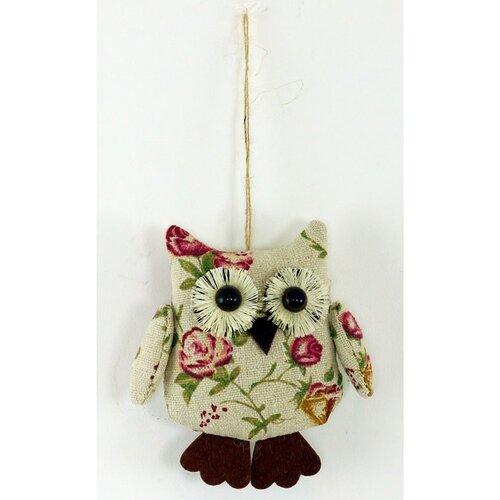 Závesná dekorácia Kvetinová sova, 10 cm