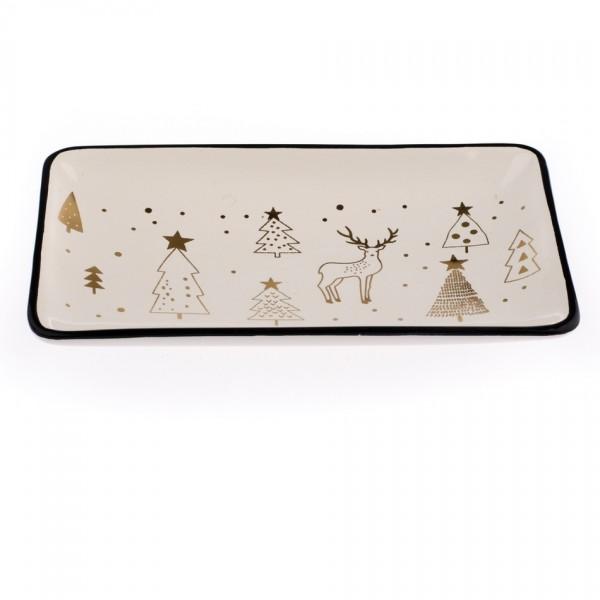 Keramický servírovací tác Vianoce, 20 x 12 cm