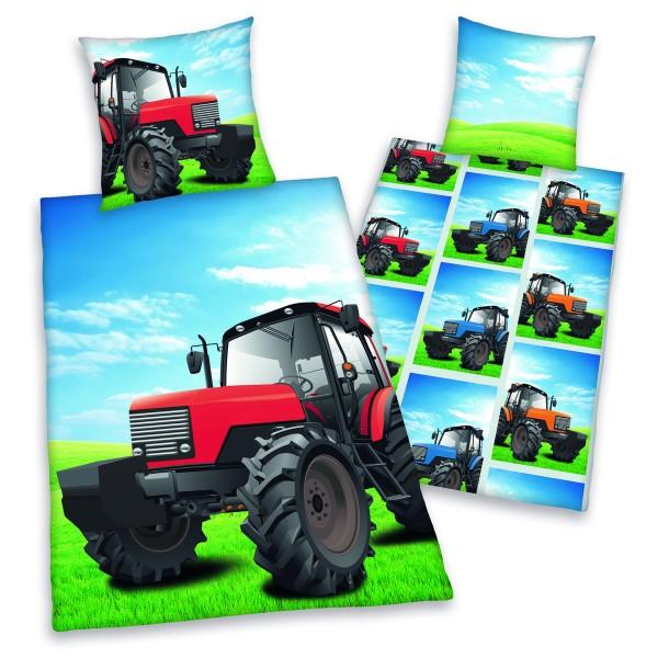 Herding Detské bavlnené obliečky Traktor, 140 x 200 cm, 70 x 90 cm