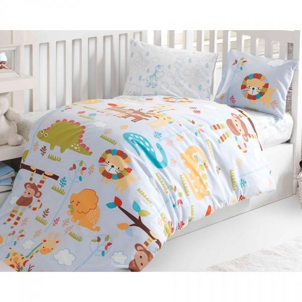 BedTex Detské bavlnené obliečky do postieľky ZOO, 100 x 135 cm, 40 x 60 cm