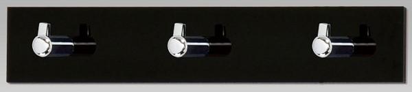 Nástenný vešiak 3 háčiky, čierny akrylát, GC3503-3 BK
