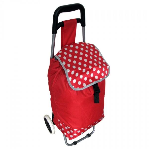 Nákupná taška na kolieskach Bodka, červená