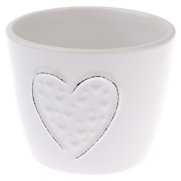 Keramický obal na kvetináč Little hearts biela, pr. 12 cm