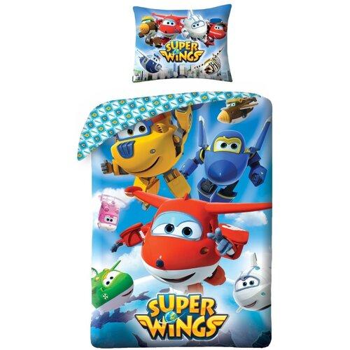 Halantex Detské bavlnené obliečky Super Wings 5510, 140 x 200 cm, 70 x 90 cm