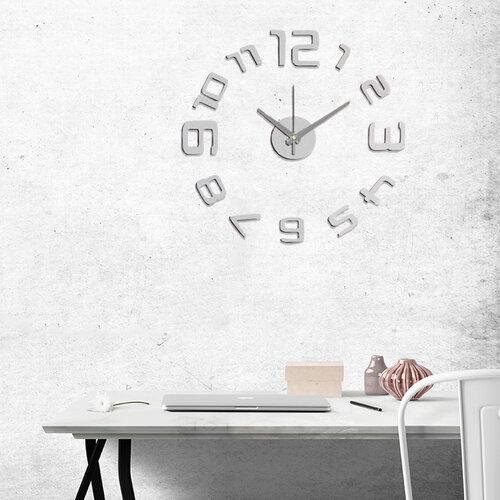 StarDeco Nástenné hodiny číslice strieborná, pr. 60 cm