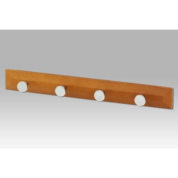 Nástenný drevený vešiak 4 háčiky, hnedá
