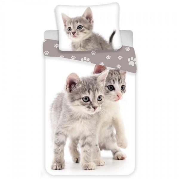 Jerry Fabrics Detské bavlnené obliečky Kitten grey, 140 x 200 cm, 70 x 90 cm