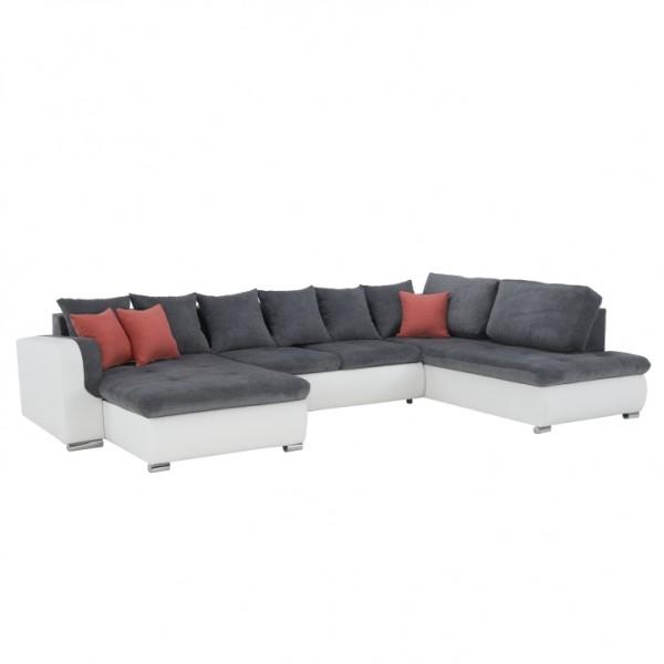 TEMPO KONDELA sedacia súprava v tvare U, ekokoža biela/látka sivá/púdrová ružová, pravá, KASTOR