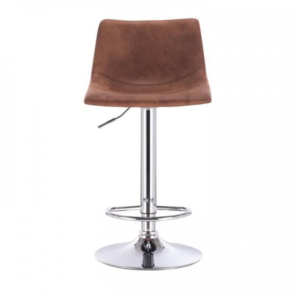 Barová stolička, hnedá látka s efektom brúsenej kože/kov, LENOX