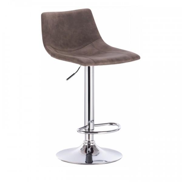 Barová stolička, sivohnedá látka s efektom brúsenej kože/kov, LENOX